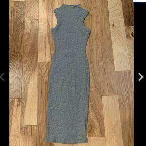 Topshop Ribbed Midi Dress High Neck Gray Bodycon